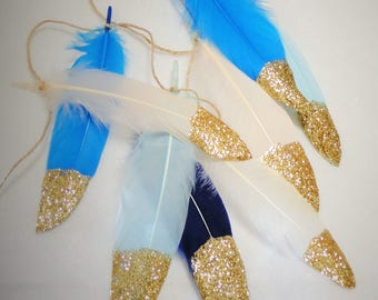 Feather Garland - Gold Glitter Dipped Feather Banner