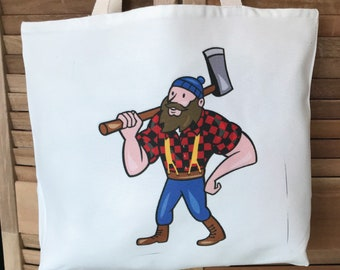 Paul Bunyan and Babe Canvas Tote