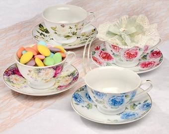 4 Vintage Teacups and Saucers Set