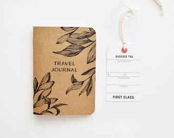 Pocket Travel Journal, Small Travel Notebook with Botanical Illustration | Hand Illustrated Traveler's Journal