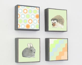 boho woodland nursery decor - woodland art for nursery - 4 set-5x5 art blocks- gender neutral baby- hedgehog rabbit art-forest animals art