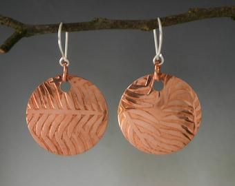 Fern Textured Copper Disc Earrings