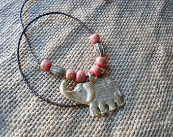 Lucky african brass Elephant with krobo beads in pink and gold