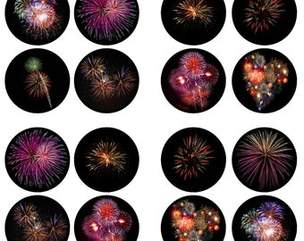Fireworks, New Years, 4th July Edible Wafer Rice Paper Cake Cupcake Toppers x 24