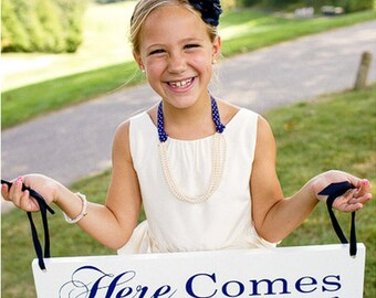 Here Comes the Bride and/or and they lived Happily ever after. 8 X 24 inch Bridal Sign, Marriage Sign, Flower Girl, Ring Bearer.