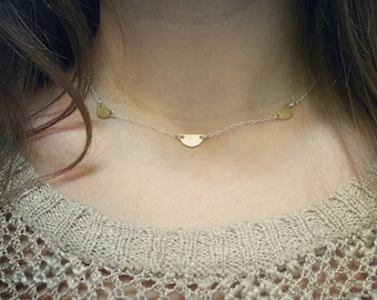 Sterling silver choker with raw brass half moons