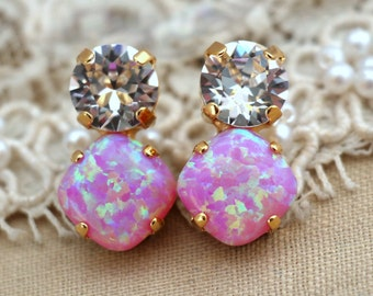 Opal Earrings, Pink Opal Earrings, Pink Earrings, Swarovski Opal Earrings, Crystal Pink Earrings, Christmas Gift, Gift For Her, Pink Studs