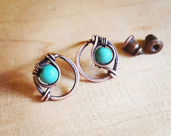 Funky stud earrings wire wrapped jewelry, turquoise studs, copper studs turquoise, copper wire earrings handmade studs, everyday earrings