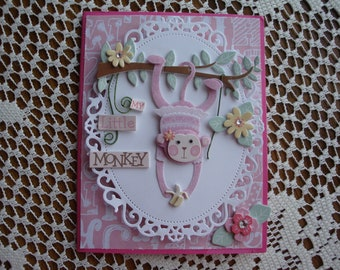 Monkey Birthday Card, My Little Monkey, For Girl, Monkey hanging from tree, 3 dimensional, pink and white, Greeting Card, Handmade