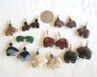 Sixteen Spirit Bears-Seven Pairs-Instant Earrings-Gemstones-Zuni Bears-Destash