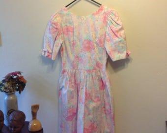 Vintage Lanz Originals Floral dress/Lanz Deep V Bow dress 8