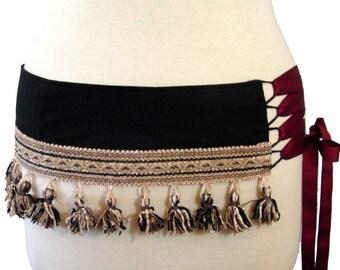 Black Bellydance Belt / Corset Style Lace Up With Tassels / Shaped to fit your Hips / Plus Size / Dance Belt / Black Dance Belt / Ren Faire