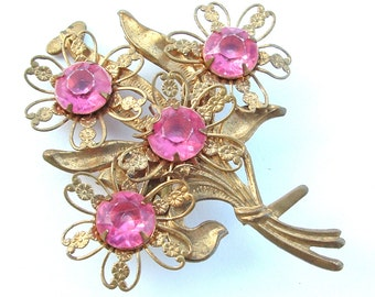 kiamichi7 Antique Jewelry Rose Pink Rhinestone Brooch Faceted Stone Women Romantic Floral Bouquet Gold Tone Filigree Flower