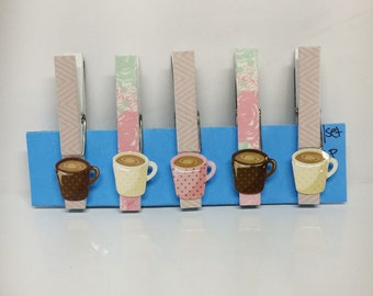 Decorated clothespins, coffee cup clips, coffee cup fridge magnets
