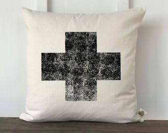 Farmhouse pillow cover, Swiss cross pillow cover, Decorative pillow cover, Vintage Style pillow cover, Couch Pillow