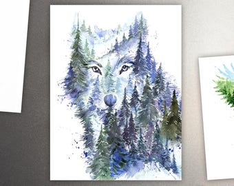 Young Wolf Art Refrigerator Magnet / Mountains & Forest Spirit Animal - Watercolor Painting