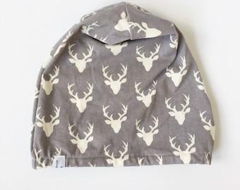 knit beanie-deer-gray-cream-boy-girl-baby-toddler-child