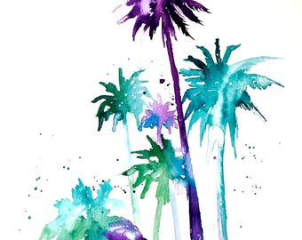 Tropical Palm Trees Watercolors Painting - Travel illustration by Lana Moes - Wanderlust Collection - Original Watercolor Miami Tropical Art