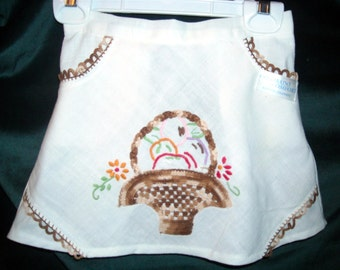 Girl's Apron made from Vintage Embroidered Linen
