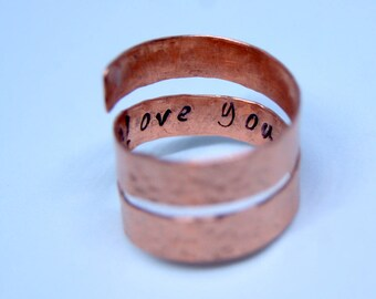 hidden message ring, pure copper ring, boho ring, Arthritis Ring, copper jewelry, rustic ring, gift for women, made to order