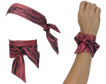 Silk Twill bandana Skinny Scarf, rose pink black, aa narrow neck neckerchief, tiger animal bandana, infinity scarf