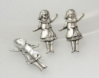 4pcs--Little Girl, Brass Stamping, Antique Silver, 22x14mm (B22-15)