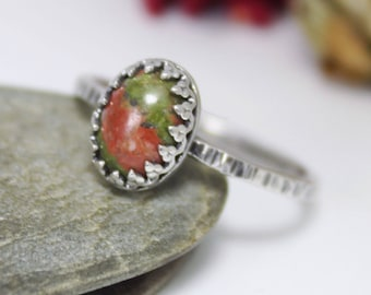 Unakite Jasper Silver Ring, Statement Ring, Simple Ring, Gemstone Ring, Stacking Ring, Hammered Ring, Jasper Ring, Stackable Ring