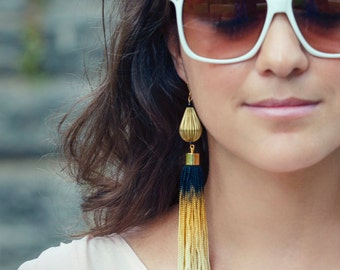 Statement Earrings, Bohemian Earrings, Ombre Earrings, Long Tassel Earrings, Gold And Black Earrings,