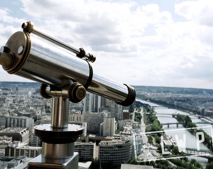The View From Above, 2nd Floor, Eiffel Tower, Seine River, Telescope, 5x8 Landscape Fine Art Photograph