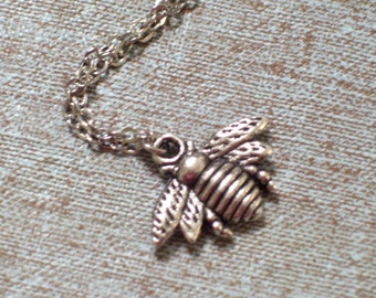 Antiqued Silver Bee Pendant Necklace, Insect Jewelry, Bee Jewelry