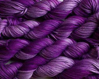 Junco, Rayon Tape Ribbon, Hand dyed  104 yds - Grape Tonal