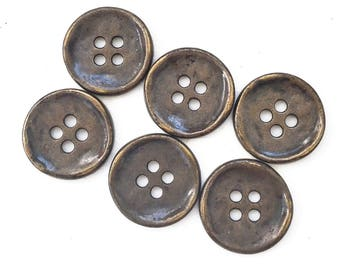eco friendly metallic enamel coated brass tone metal buttons--matching lot of 6