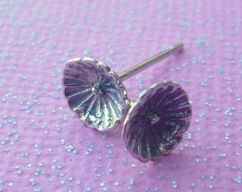 Sterling Silver Flower Blossom Stud Earrings