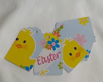 Easter / Easter Chick / Spring Flowers / Gift Tags / Set of 5 Gift Tags