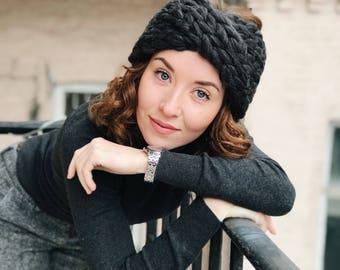 Headband - Chunky Merino Wool  - Knit turban. Wool knit ear warmer, knit twist headband, women's knit headband
