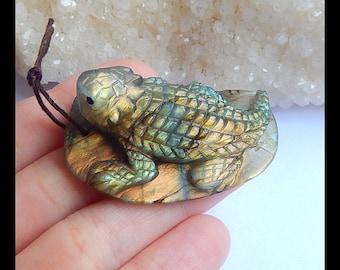Carved Flashy Labradorite Toad Pendant,Lovely Animal Gemstone Decoration,45x29x17mm,23.6g(s0760)