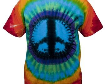Tie Dye Regenbogen Peace-Zeichen T Shirt für Jugend