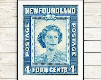 newfoundland canada, queen elizabeth 2, newfoundland art prints, queen elizabeth II, newfoundland posters, newfoundland vintage decor, queen