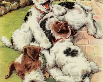 Vintage Dog Print Terrier Puppies by Winifred Martin C. 1953 Vintage Decor 11x14""