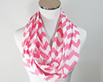 Pink Chevron Scarf.Chevron Scarf, Pink Infinity Scarf. Pink Chevron Scarf.Pink Zigzag Scarf. loop Scarf.Circle Scarf. Infinity Scarf.
