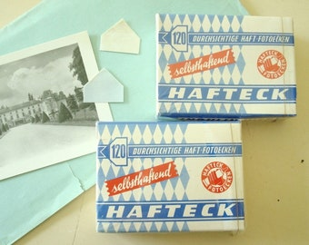 Vintage German photo corners, unused box of 120 invisible acetate corners, 1960-70 ephemera for your vintage scrapbooks and photo albums