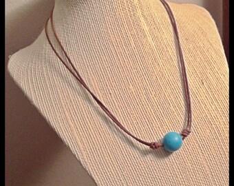 Turquoise Stone on Leather Necklace,  Adjustable, Sliding knot,  Minimalist Jewelry, Layering Necklace