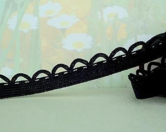 "5yds Black Elastic Picot Lace Stretch Skinny Elastic 1/2"" scalloped loop edge diy Headbands Sewing lingerie Underwear Elastic Trim"
