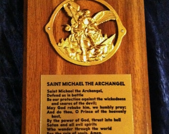 Vintage Archangel Michael Wood And Metal Wall Plaque