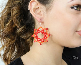 Orange and red tatting lace hoop earrings made in Italy, gift for schoolgirl, sister, girlfriend