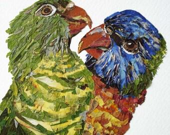 Bird art from pressed flowers Wall art decor Dried flowers Bird wall art Wildlife art Collage art Flower art Unique wall art animals art