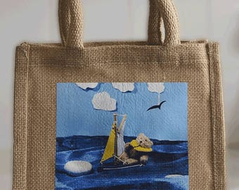Small Tote Bag in jute - printed with Busy Ted 'sailing' photo - ideal for books, lunch, shopping, crafts
