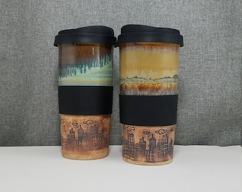 IN STOCK*** Handmade Travel mug - Travel Tumbler - Commuter mug with silicone lid - Turquoise - Acorn - CityScape