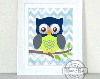 Baby Boy Nursery - Owl Print - wall art - Boys Woodland Owl Nursery Art , Owl Decor, Blue and Lime