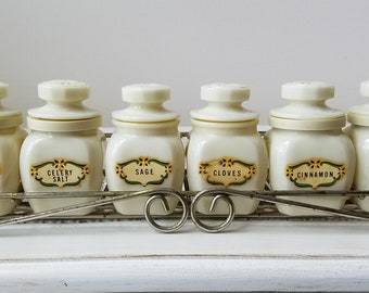 Vintage Spice Jars Set of Six By Wheaton Glass Company With Metal Spice Rack, Chubby 1970's Cream Milk Glass With Starburst Lids For Kitchen